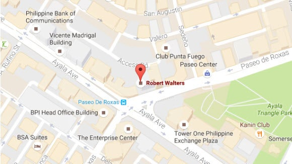 Philippines Robert Walters pin location on map