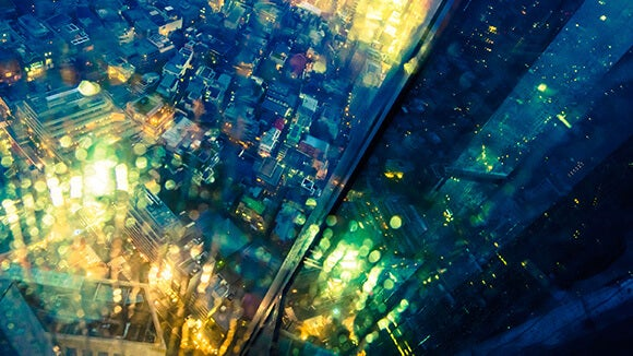 Bright city view from a lift