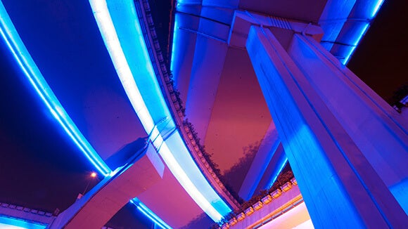 Neon blue and pink weaving architecture