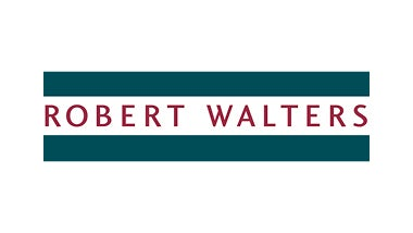 Robert Walters white logo on green background